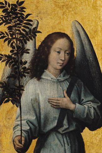 Angel Holding an Olive Branch-Hans Memling-Stretched Canvas Print