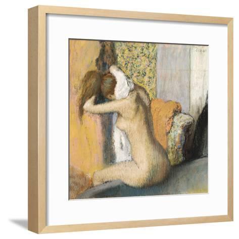 After the Bath, Woman Drying Her Neck, 1898-Edgar Degas-Framed Art Print