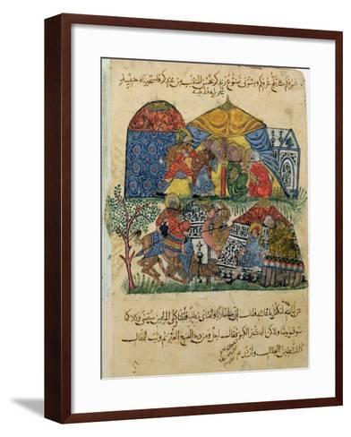 "An Old Man and a Young Man in Front of the Tents of the Rich Pilgrims, from ""The Maqamat""--Framed Art Print"