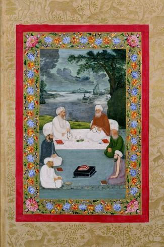 Mystical Conversation Between Sufic Sheikhs (Miniature)--Stretched Canvas Print