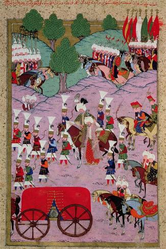 """""""Hunername"""" the Army of Suleyman the Magnificent (1494-1566) Leave for Europe--Stretched Canvas Print"""