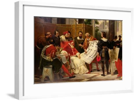 Pope Julius II Ordering Bramante Michelangelo and Raphael to Build the Vatican and St. Peter's 1827-Horace Vernet-Framed Art Print