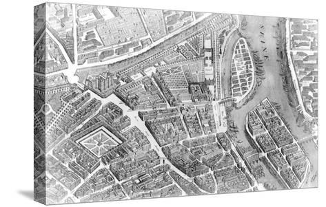 """Plan of Paris, Known as the """"Plan De Turgot,"""" Engraved by Claude Lucas, 1734-39-Louis Bretez-Stretched Canvas Print"""