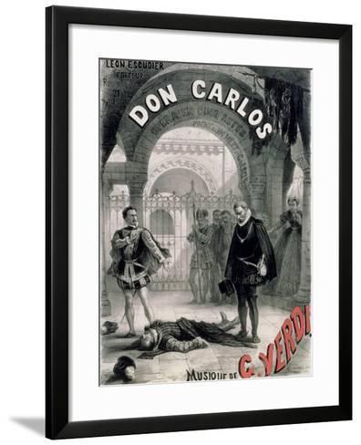 "Poster Advertising ""Don Carlos,"" Opera by Giuseppe Verdi (1816-1901) Engraved by Telory-Alphonse Marie de Neuville-Framed Art Print"