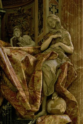 Truth from the Monument to Alexander VII in the North Transept, 1672-78 (Marble and Gilded Bronze)-Giovanni Lorenzo Bernini-Stretched Canvas Print
