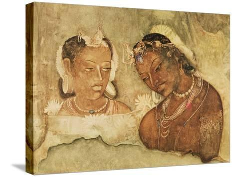 A Princess and Her Servant, Copy of a Fresco from the Ajanta Caves, India--Stretched Canvas Print