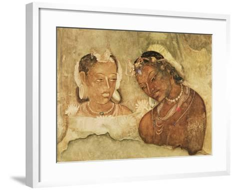 A Princess and Her Servant, Copy of a Fresco from the Ajanta Caves, India--Framed Art Print