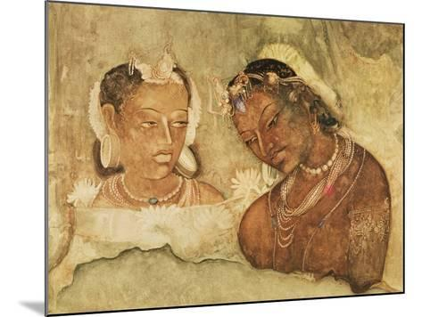 A Princess and Her Servant, Copy of a Fresco from the Ajanta Caves, India--Mounted Giclee Print
