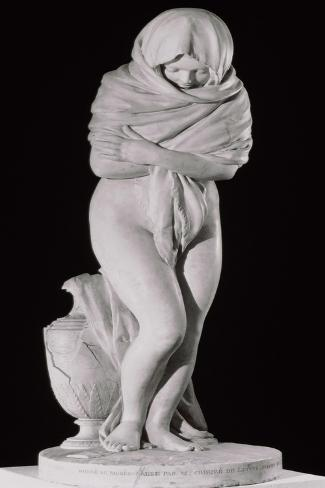 Winter, or the Chilly Woman-Jean-Antoine Houdon-Stretched Canvas Print