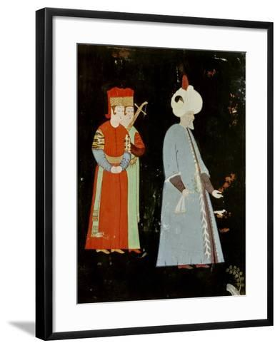 The Sultan Suleyman the Magnificent (1494-1566) with Two Dignitaries-Nakkep Reis Haydar-Framed Art Print