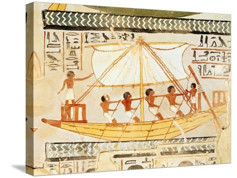 Boatmen on the Nile, from the Tomb of Sennefer, New Kingdom (Mural)--Stretched Canvas Print