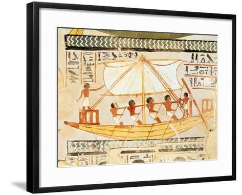 Boatmen on the Nile, from the Tomb of Sennefer, New Kingdom (Mural)--Framed Art Print