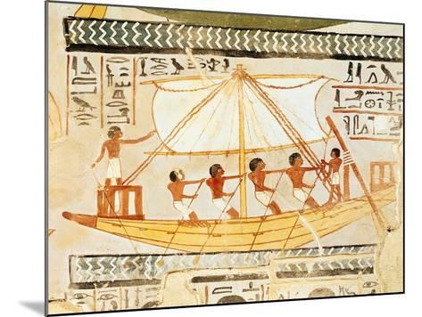 Boatmen on the Nile, from the Tomb of Sennefer, New Kingdom (Mural)--Mounted Giclee Print