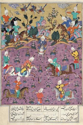 """Siavosh Playing Polo with Afrasiab, from """"Firdawsi's Shahnama""""--Stretched Canvas Print"""