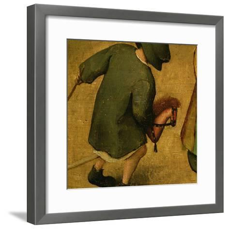 Children's Games, Detail of Bottom Section Showing a Child and a Hobby-Horse, 1560-Pieter Bruegel the Elder-Framed Art Print