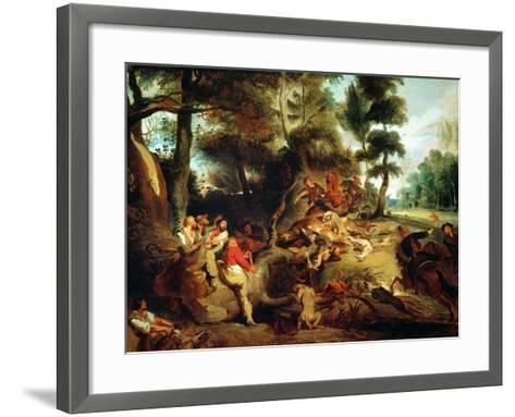The Wild Boar Hunt, after a Painting by Rubens, circa 1840-50-Eugene Delacroix-Framed Art Print