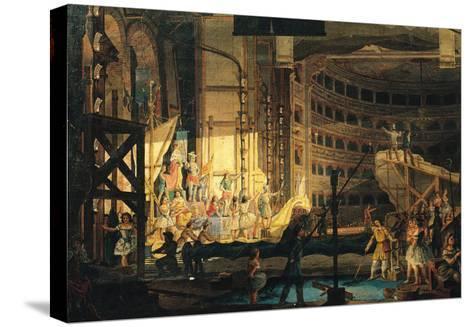 Preparing Scenery in a Theatre--Stretched Canvas Print