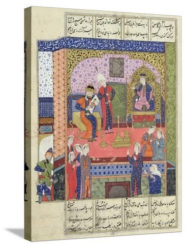 "Interior of the King of Persia's Palace, Illustration from the ""Shahnama"" (Book of Kings)--Stretched Canvas Print"