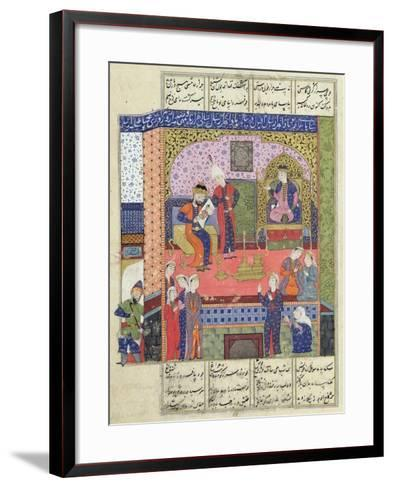 "Interior of the King of Persia's Palace, Illustration from the ""Shahnama"" (Book of Kings)--Framed Art Print"