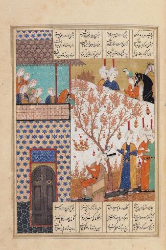 Khosro Before Shirins Palace, Illustration to Khosro and Shirin, 1176, by Elias Nezami (1140-1209)--Stretched Canvas Print