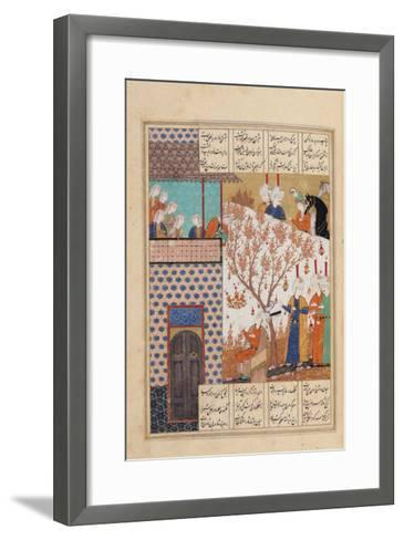 Khosro Before Shirins Palace, Illustration to Khosro and Shirin, 1176, by Elias Nezami (1140-1209)--Framed Art Print