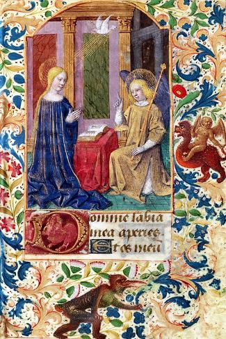 """The Annunciation, from """"Heures D L'Usage De Rome,"""" circa 1465-Jean Fouquet-Stretched Canvas Print"""
