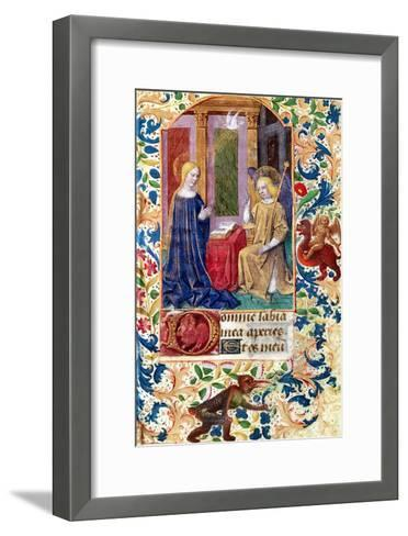 """The Annunciation, from """"Heures D L'Usage De Rome,"""" circa 1465-Jean Fouquet-Framed Art Print"""