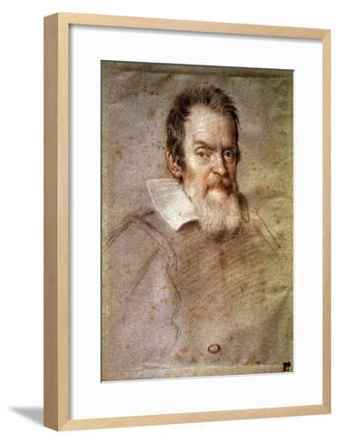 Portrait of Galileo Galilei (1564-1642) Astronomer and Physicist-Ottavio Mario Leoni-Framed Art Print
