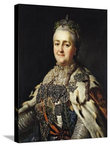 Portrait of Catherine II (1729-96) of Russia-Alexander Roslin-Stretched Canvas Print