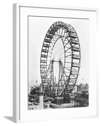 The Ferris Wheel at the World's Columbian Exposition of 1893 in Chicago--Framed Art Print