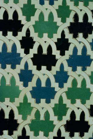 Azulejos Tiles from the Throne of the Sultans from the Patio De Las Doncellas (Faience)--Stretched Canvas Print