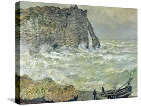 Rough Sea at Etretat, 1883-Claude Monet-Stretched Canvas Print