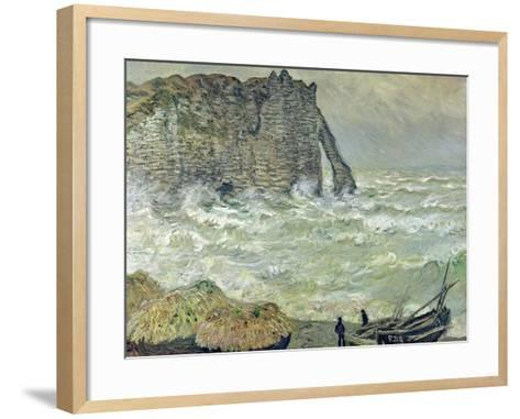 Rough Sea at Etretat, 1883-Claude Monet-Framed Art Print