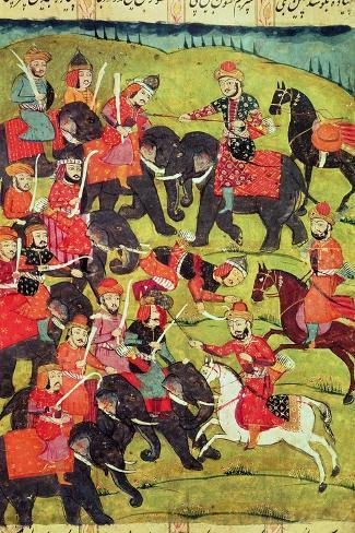 "A Battle Scene, from the ""Shahnama"" (Book of Kings) by Abu""L-Qasim Manur Firdawsi (c. 934-c. 1020)--Stretched Canvas Print"