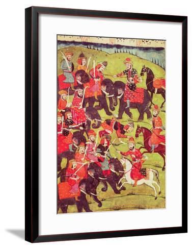 "A Battle Scene, from the ""Shahnama"" (Book of Kings) by Abu""L-Qasim Manur Firdawsi (c. 934-c. 1020)--Framed Art Print"