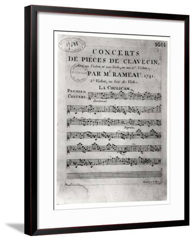 """Score Sheet for """"Concerts De Pieces De Clavecin"""" by Jean-Philippe Rameau (1683-1764) 1741-L. Hue-Framed Art Print"""