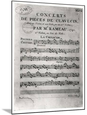"""Score Sheet for """"Concerts De Pieces De Clavecin"""" by Jean-Philippe Rameau (1683-1764) 1741-L. Hue-Mounted Giclee Print"""