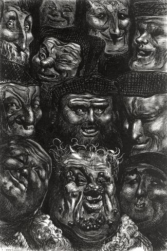 """Eleven Grotesque Faces from """"Les Contes Drolatiques"""" by Honore De Balzac (1799-1850)-Gustave Dor?-Stretched Canvas Print"""