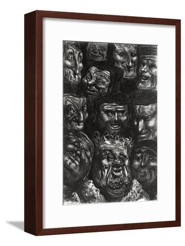 """Eleven Grotesque Faces from """"Les Contes Drolatiques"""" by Honore De Balzac (1799-1850)-Gustave Dor?-Framed Art Print"""