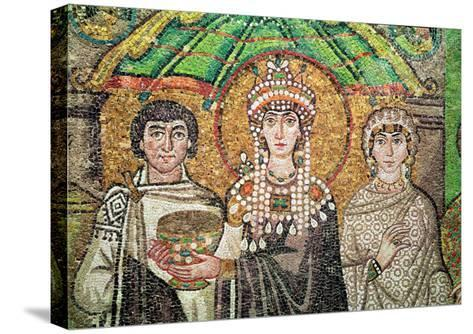 Empress Theodora with Her Court of Two Ministers and Seven Women, circa 547 AD--Stretched Canvas Print