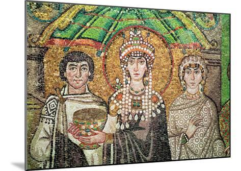 Empress Theodora with Her Court of Two Ministers and Seven Women, circa 547 AD--Mounted Giclee Print