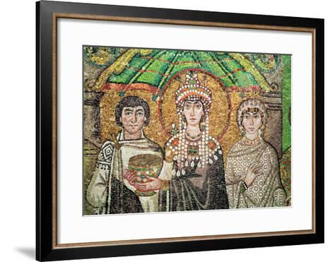 Empress Theodora with Her Court of Two Ministers and Seven Women, circa 547 AD--Framed Art Print