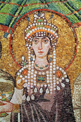 Empress Theodora with Her Court of Two Ministers and Seven Women, Detail of Theodora, circa 547 AD--Stretched Canvas Print