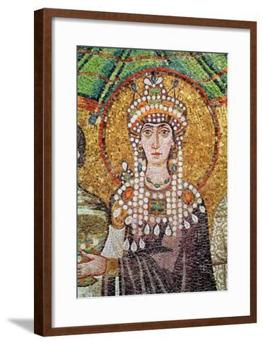 Empress Theodora with Her Court of Two Ministers and Seven Women, Detail of Theodora, circa 547 AD--Framed Art Print