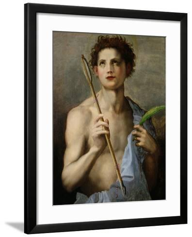 St. Sebastian Holding Two Arrows and the Martyr's Palm-Andrea del Sarto-Framed Art Print