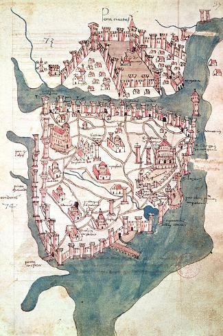 Plan of Constantinople--Stretched Canvas Print