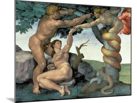 Sistine Chapel Ceiling (1508-12): the Fall of Man, 1510 (Post Restoration)-Michelangelo Buonarroti-Mounted Giclee Print