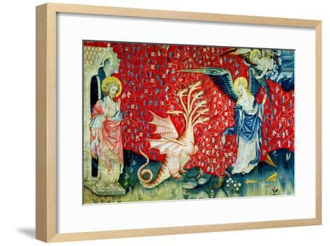 """The Woman Receiving Wings to Flee the Dragon, No.37 from """"The Apocalypse of Angers,"""" 1373-87-Nicolas Bataille-Framed Art Print"""