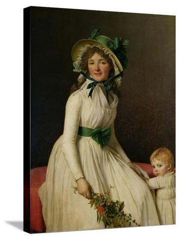 Madame Pierre Seriziat (Nee Emilie Pecoul) with Her Son, Emile (B.1793) 1795-Jacques-Louis David-Stretched Canvas Print