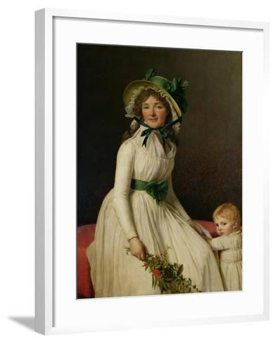 Madame Pierre Seriziat (Nee Emilie Pecoul) with Her Son, Emile (B.1793) 1795-Jacques-Louis David-Framed Art Print